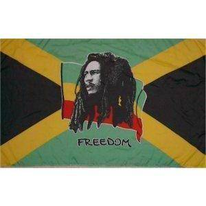 vendor-unknown Flag Bob Marley Freedom Flag 12 X 18 inch on stick
