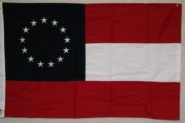 vendor-unknown Flag Confederate - First National Confederate - 13 Stars and Bars Flag - Double Nylon Embroidered - 3 x 5 ft.