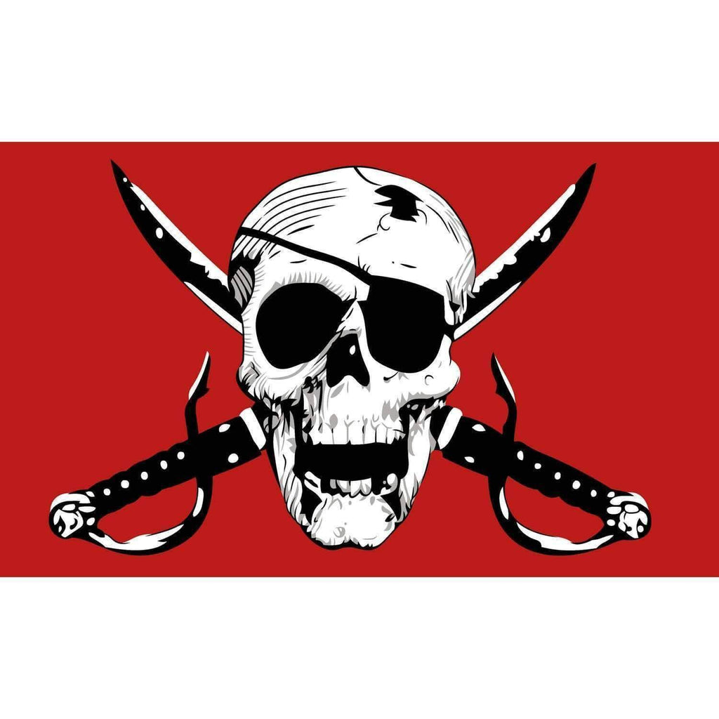Global Advertising Systems Flag Crimson Pirate Flag - Nylon Polyester - Outdoor 3x5 ft