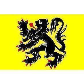 Flanders Flag Belgium 12x18 inch with rope ends