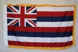 vendor-unknown Flag Hawaii Nylon Printed Flag 3 x 5 ft. with Fringes