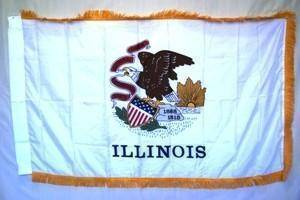 vendor-unknown Flag Illinois Nylon Printed Flag 3 x 5 ft. with Fringes