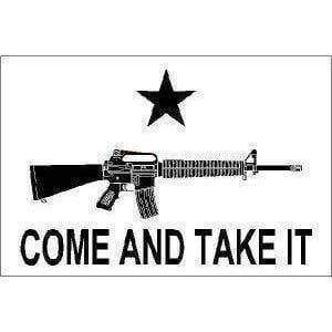 RU Flag M4 Carbine Come and Take It (White) Flag 3 X 5 ft. Standard