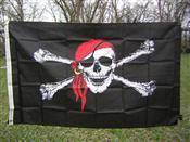 Image of RU Flag Pirate Red Hat Nylon Printed Flag 3 x 5 ft.