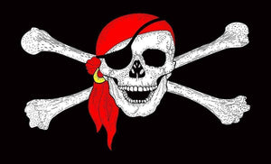 RU Flag Pirate Red Hat Nylon Printed Flag 3 x 5 ft.