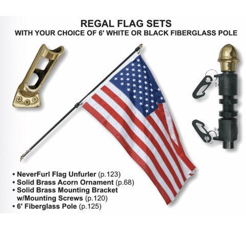 Image of Eder Flag Pole 3/4 inch White with Nylon US Flag Regal Outdoor Fiberglass Flag Mounting Kit  with Solid Brass Mounting Bracket