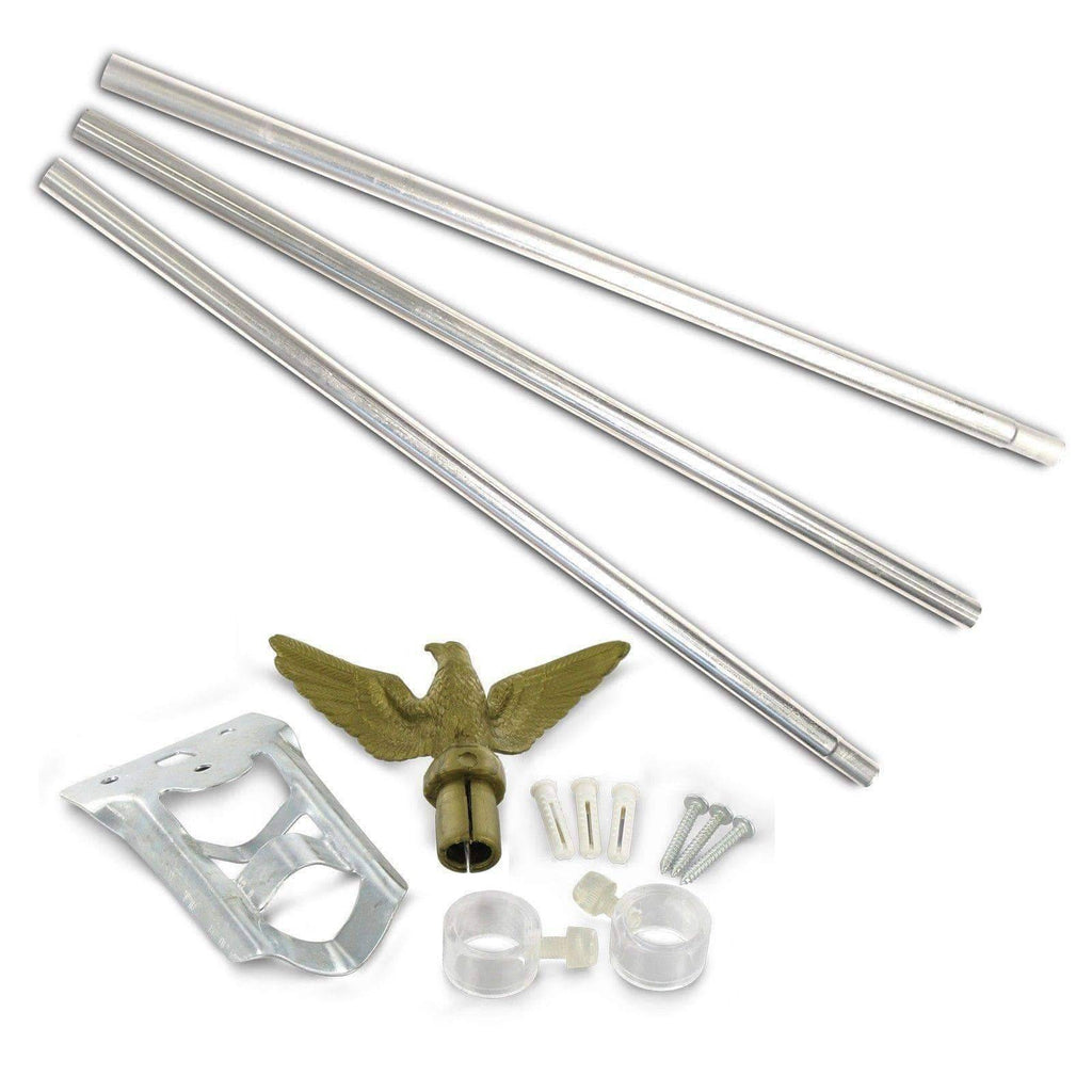 RU Flag Pole Silver Steel / Not Included Flag Pole - 6ft. Outdoor Flag Mounting Kit flag pole (does not include flag)