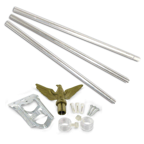 Image of RU Flag Pole Silver Steel / Not Included Flag Pole - 6ft. Outdoor Flag Mounting Kit flag pole (does not include flag)