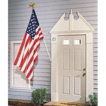 Image of RU Flag Pole White Painted Steel / Included Flag Pole - 6ft. Outdoor Flag Mounting Kit flag pole (does not include flag)