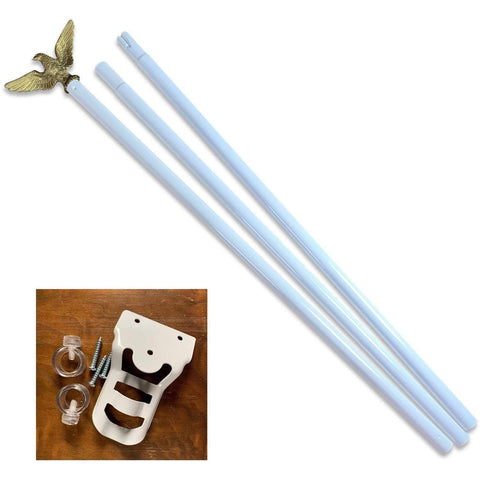 RU Flag Pole White Painted Steel / Not Included Flag Pole - 6ft. Outdoor Flag Mounting Kit flag pole (does not include flag)