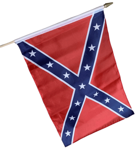 RU Flag Rebel Flag, Confederate Battle Flag 12 x 18 inch on Stick