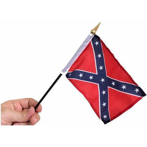 RU Flag Rebel Flag, Confederate Battle Flag 4 X 6 inch on stick