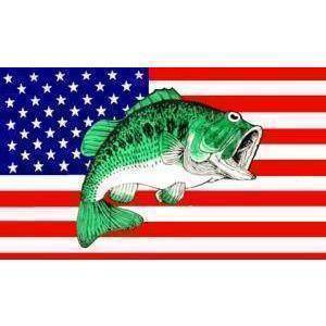 vendor-unknown Flag USA Bass Fish Flag 3 X 5 ft. Standard