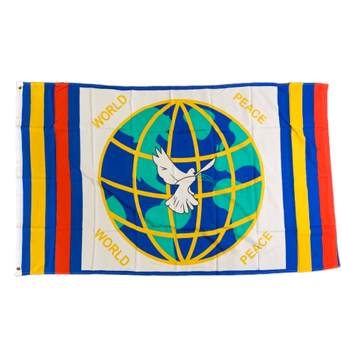 Image of RU Flag World Peace Dove Over Globe Flag - 3 X 5 ft. Rough Tex