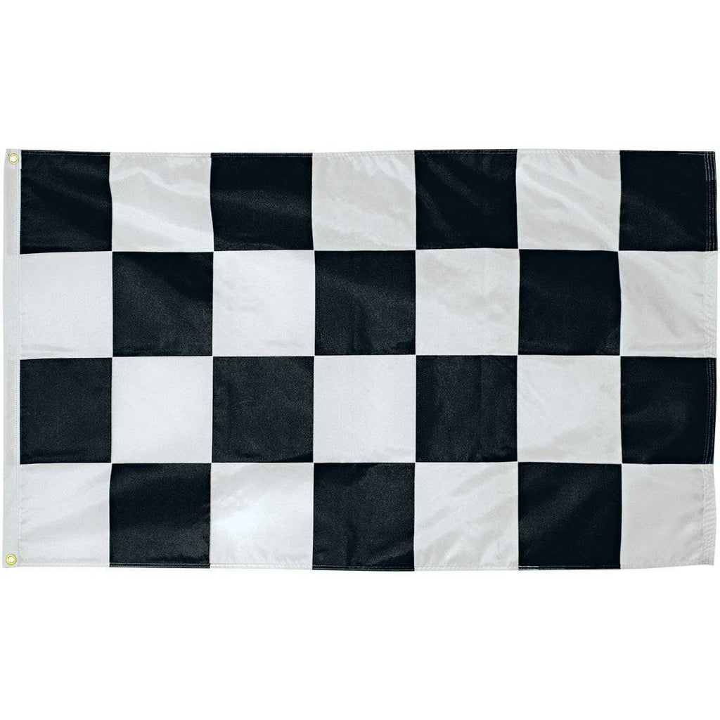 vendor-unknown Flag Black and White Checkered 3 x 5 Nylon Dyed Flag with Sleeve (Pole Hem) (USA MADE)