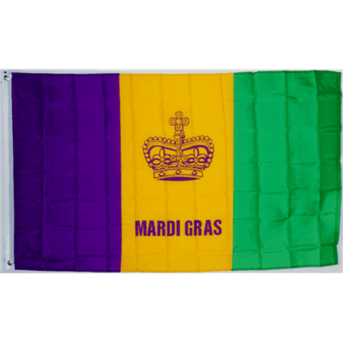 Mardi Gras Fat Tuesday Flag - Made in USA