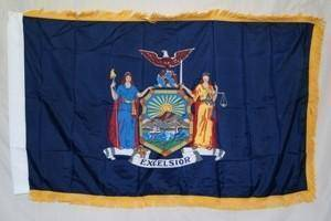 vendor-unknown Flag New York Nylon Printed Flag 3 x 5 ft. with Fringes