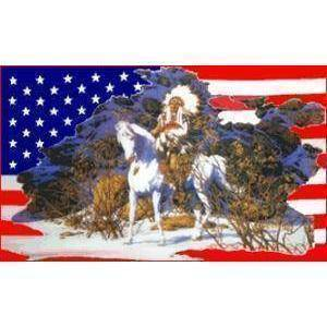 vendor-unknown Flag USA Indian Horse Snow Flag 3 X 5 ft. Standard