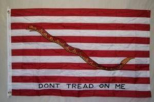 vendor-unknown Gadsden Flags (Don't Tread on Me Flags) 1st Navy Jack Don't Tread On Me Nylon Dyed Flag (USA MADE) Government Specs 5 ft 8-3/4 inch x 6 ft 9-3/4 inch