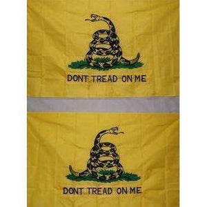 "vendor-unknown Gadsden Flags (Don't Tread on Me Flags) With Grommets Gadsden Don't Tread On Me ""Double-Embroidered"" Yellow Nylon Embroidered Flag 3 x 5 ft. WITH POLE SLEEVE"
