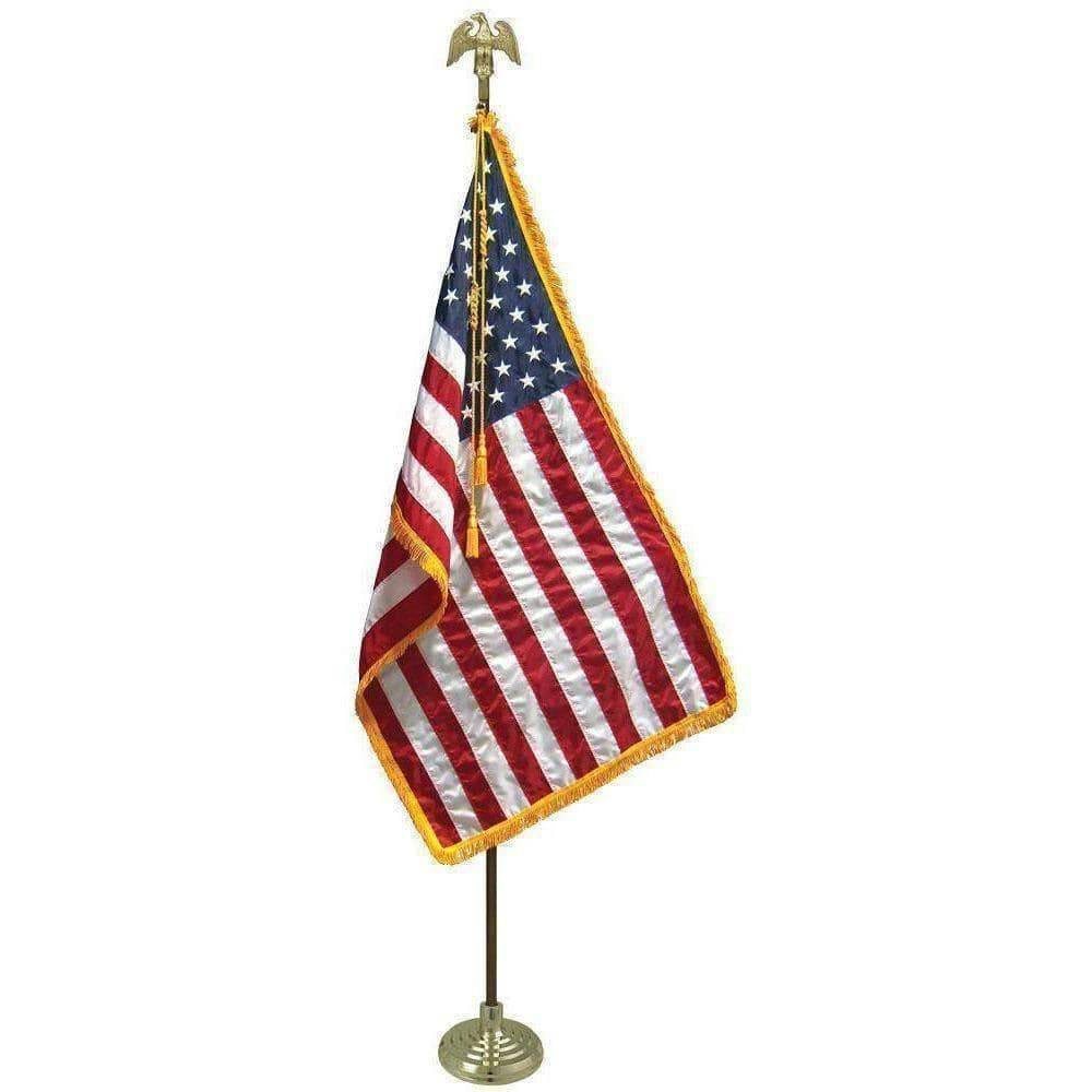 Eder Hardware And Flag Poles Gold Perched Eage Indoor Mounting Set 8ft 1.25 inch diameter with USA Nylon Embroidered Flag (USA Made)