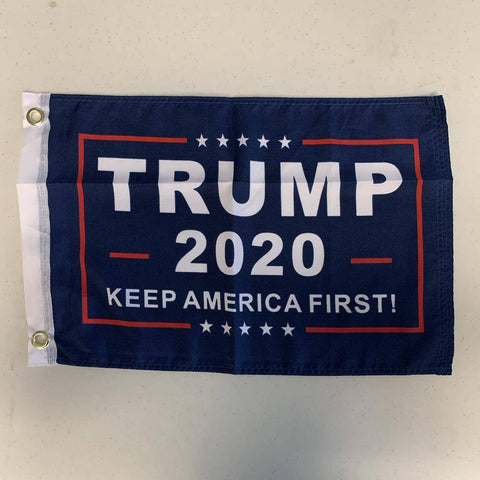 12X18 Trump 2020 Keep America First Flag - Boat Blue Background 100D Rough Tex Inch