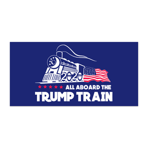 All Aboard The Trump Train  2020 Flag BLUE  3x5,4x6,5x8,6x10,8x12 Dyed Nylon Made in USA Stadium