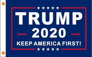 Trump 2020 Flag Keep America First Blue Made In Usa 12X18 Inch / Single