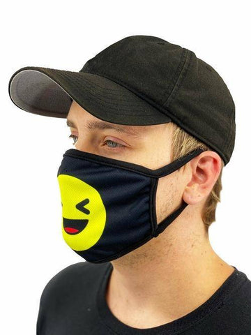 Image of Laughing Emoji Face Mask With Filter Pocket L/xl / Multicolored
