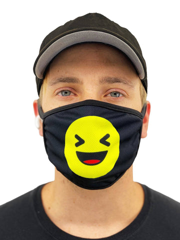 Image of Laughing Emoji Face Mask With Filter Pocket
