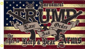 Trump Law & Order 2nd Amendment Flag 3x5 Economical