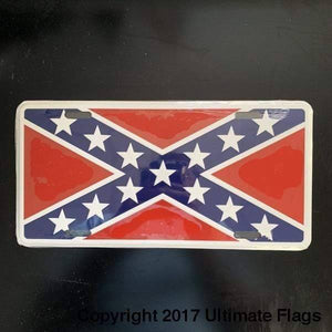 RU License Plate Rebel Flag License Plate - Confederate Battle License Plate