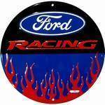 vendor-unknown License Plates and Metal Signs Ford Racing with Flames Circular Sign