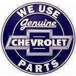 vendor-unknown License Plates and Metal Signs We Use Genuine Chevrolet Parts Circular Sign