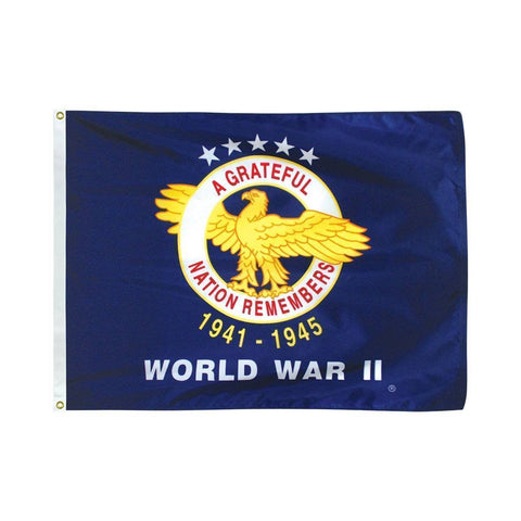 vendor-unknown Made In The USA World War II Commemorative Flag  3 x 5 Nylon Dyed Flag (USA Made)