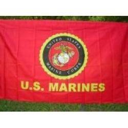 vendor-unknown Military Flags USMC Marines Emblem & Words Flag 3 X 5 ft. Standard