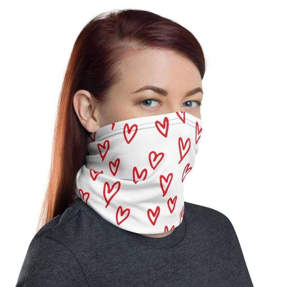 Red Hearts Neck Gaiter Face Mask