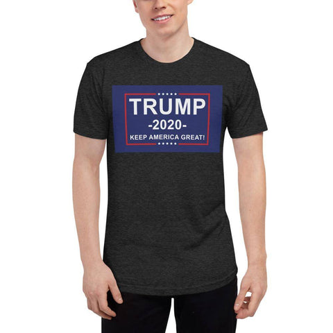 Image of Trump 2020 Keep America Great Athletic Unisex Tri-Blend Track Shirt Made In Usa Tri-Black / Xs