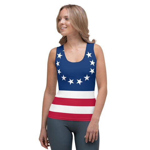 Image of Betsy Ross Flag Sublimation Cut & Sew Tank Top Xs