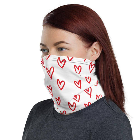 Image of Red Hearts Neck Gaiter Face Mask