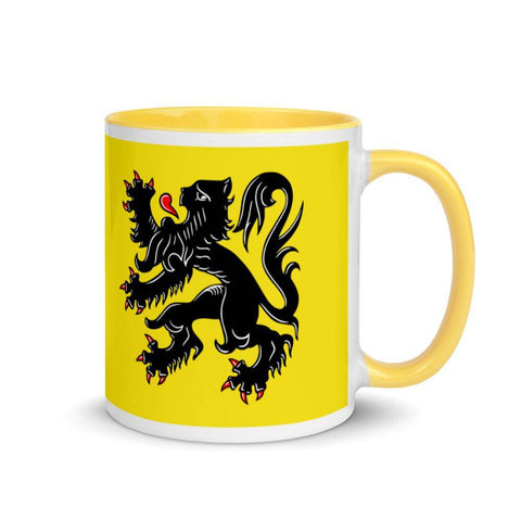 Image of Flanders flag Mug with yellow Inside