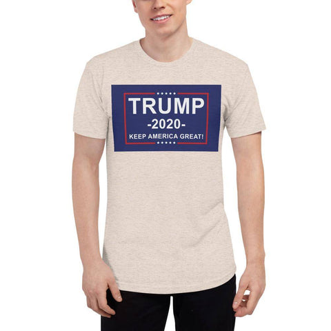 Image of Trump 2020 Keep America Great Athletic Unisex Tri-Blend Track Shirt Made In Usa Tri-Oatmeal / Xs