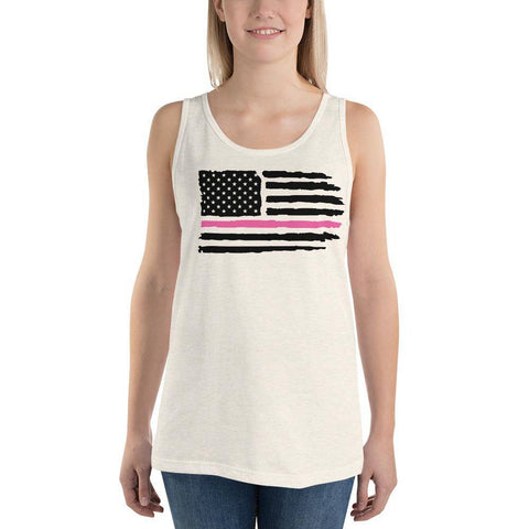 Image of Unisex USA Pink Line Tank Top