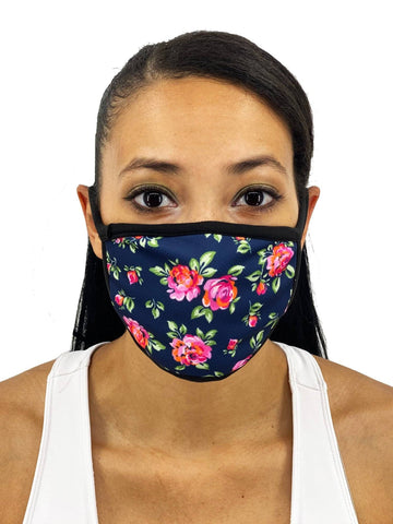 Image of Navy Roses Face Mask With Filter Pocket