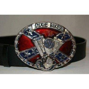 vendor-unknown Other Cool Flag Items Dixie Biker Belt Buckle