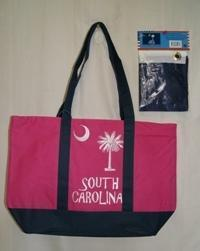 vendor-unknown Other Cool Flag Items Pink and Blue South Carolina Beach Bag