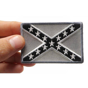 Rebel Flag Subdued Patch -Grey - Confederate Battle Flag Patch - 2 x 3 inch