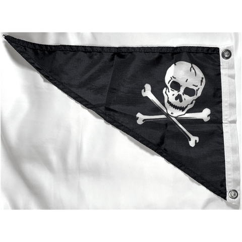 "Image of Eder Pennant Jolly Roger Bow Pennant Nylon Dyed 10"" x 15"" Flag (USA Made)"