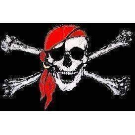 vendor-unknown Pirate Flags (Jolly Roger Flags) Jolly Roger Red Hat Flag 4 X 6 Inch pack of 10