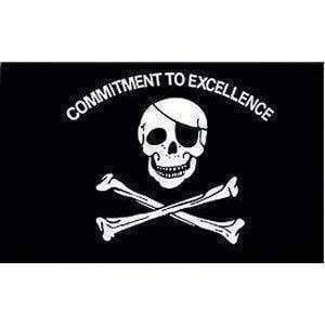 vendor-unknown Pirate Flags (Jolly Roger Flags) Pirate Flag, Commitment to Excellence 12 x 18 inch With Grommets